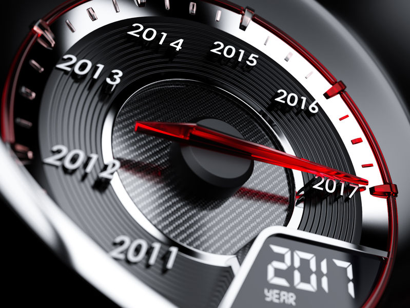 62012083 - 3d illustration of 2017 year car speedometer. countdown concept